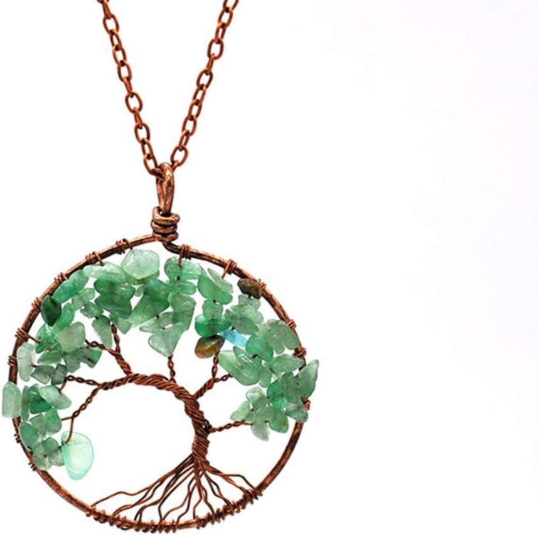 Simsly - Collar con colgante de árbol de la vida hecho a mano con piedras preciosas de chakra de cobre para mujeres y niñas