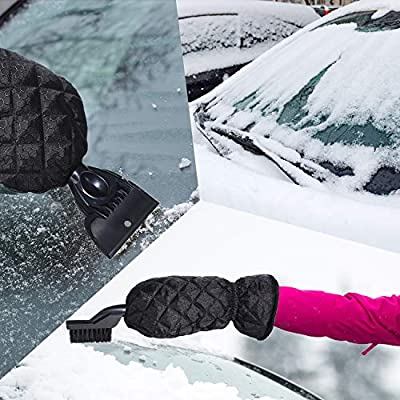 Mudder Car Ice Scraper Mitt Snow Removal Tools 3 in 1 for Windshield Plow-Like Snow Scraper and Warm Thick Waterproof Glove with Snow Brush: Automotive