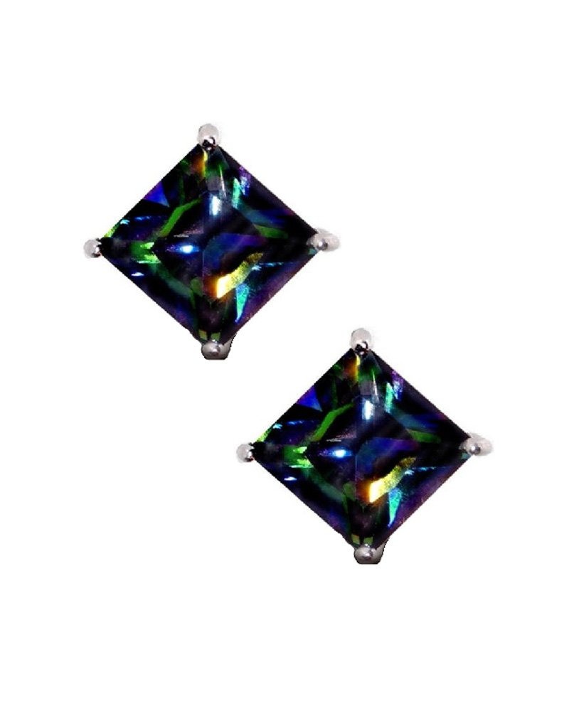 Rainbow Peacock Multi Color Square Princess Cut CZ Basket Set Sterling Silver Stud Earrings 6mm