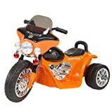 Ride on Toy, 3 Wheel Mini Motorcycle Trike for Kids, Battery Powered Toy by Hey! Play! – Toys for Boys and Girls, 2 - 5 Year Old - Police Car Orange