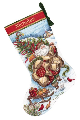 - Dimensions Counted Cross Stitch 'Santa's Journey' Personalized Christmas Stocking Kit, 18 Count White Aida, 16''