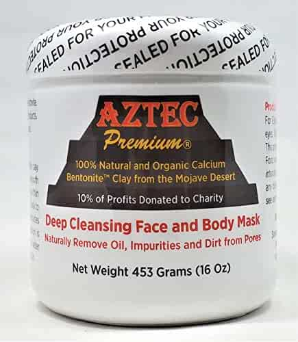 Aztec Premium Deep Cleansing Face & Body Mask Powder | 100% Natural & Organic Calcium Bentonite Clay (also known as Montmorillonite Clay) | 16 oz