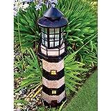 Garden Sunlight C5116G Solar Lighthouse Garden Decor, Green, (35-Inch)