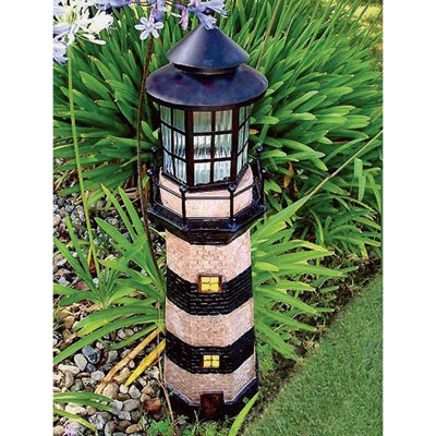Garden Sunlight C5116G Solar Lighthouse Garden Decor, Green, (35-Inch)
