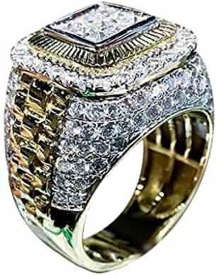 Mifelio Couples Rose Gold Diamond Valentine Ring Natural White Romantic Wedding