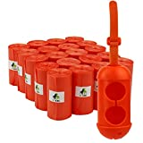 """PET N PET 400 Counts Large Orange Poop Bags 9"""" x 13"""" Unscented Dog Waste Bags with One Dispenser 20 Rolls Pick up Bags"""