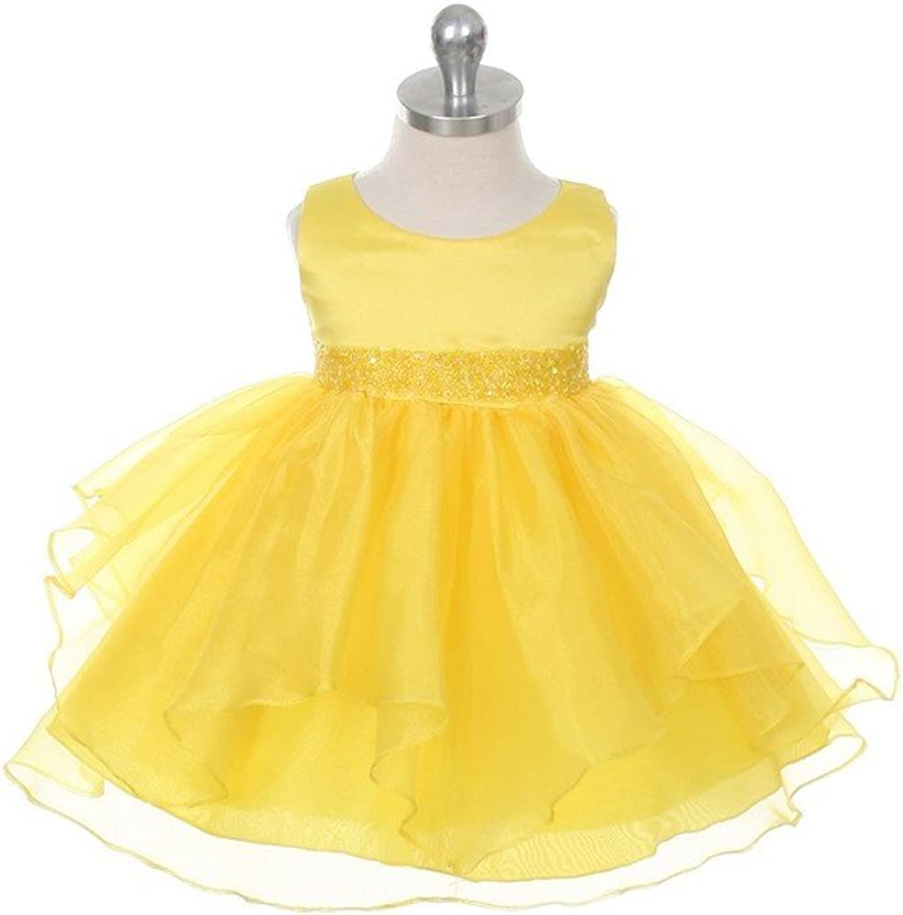 Chic Baby Girls Yellow Organza Embellished Waist Flower Girl Dress 3-24M