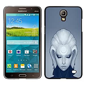 KLONGSHOP // Cubierta de piel con cierre a presión Shell trasero duro de goma Protección Caso - Muchacha Triste Profundo - Samsung Galaxy Mega 2 //