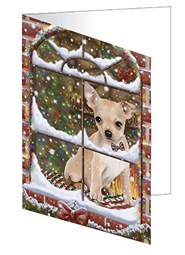 Please Come Home For Christmas Chihuahua Dog Sitting In Window Note Card (10)