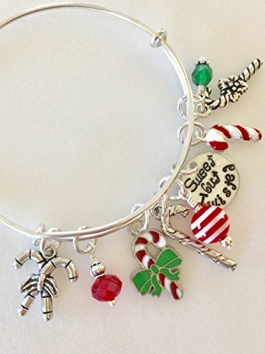 hristmas Candy Bracelet, Red And Green, Enamel Silver Charms, Hand Stamped,