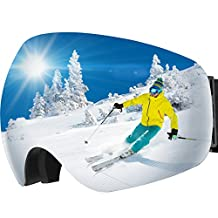 OMorc Ski Goggles, Anti-Fog&100% UV400 Protection, Snowboard Goggles Over Glasses with 180°wide viewing Angle and Big Spherical Dual Lens, Helmet Compatible Snow Goggles for Men, Women, Adult & Youth, Winter Snow Skate Snowmobile - Grey
