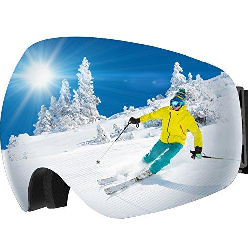 OMorc Ski Goggles Anti-Fog &100% UV400 Protection OTG Snowboard Goggles, Big Spherical Dual Lens Snowmobile Ski Glasses For Men, Women, Adult, Teens & Youth, Winter Snow Skate Motorcycle - Over Goggles Glasses Sun