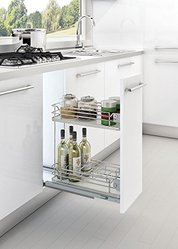 Rev-A-Shelf - 5322-11-GR - 300 mm. Wood Euro Grey Two-Tier Pull-Out Organizer by Rev-A-Shelf