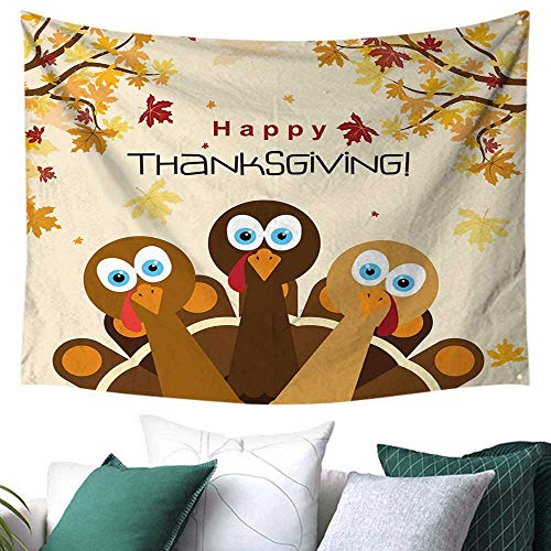 WilliamsDecor Turkey Tapestry for Dorm Happy Thanksgiving with Falling Leaves and Poultry Birds Harvest Time Celebration Home Decor Couch Cover 72W x 54L Inch Multicolor]()