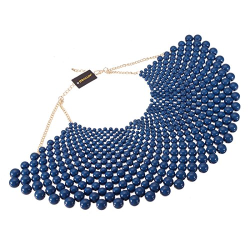Bib Collar Necklace Chunky CCB Resin Beads Chain Choker Statement Necklace Womens Fashion Jewelry Necklace (Blue)