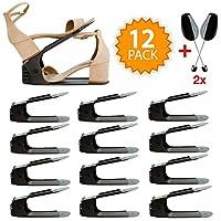 Shoe Slots Organizer (12PCS + Extra Shoe Trees) - 4 Gears Adjustable Space Saver Shoe Organizer For Closet | Space Saving Shoe Organizer | Double Shoe Rack Stack For Closet Storage | Shoe Holder