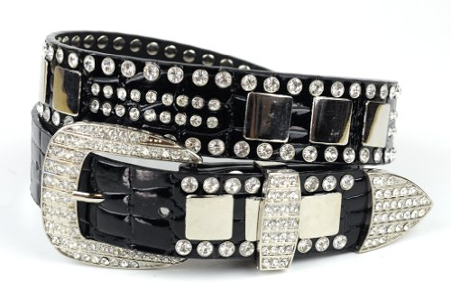Women's Faux Patent Leather Crocodile Design Belt w/ Rhinestones DM300, Black, (Faux Crocodile Belt)