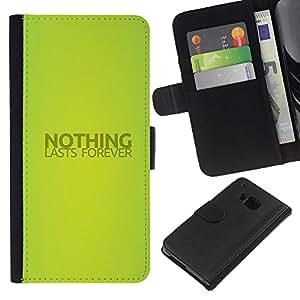 KLONGSHOP // Tirón de la caja Cartera de cuero con ranuras para tarjetas - NADA DURA PARA SIEMPRE - HTC One M9 //