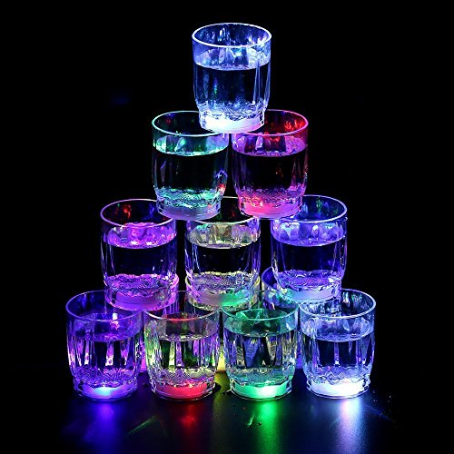 Glow Shot Glass (Homecube 24 Flash Light Up Cups Flashing Shots Light 24 LED Bar Night Club Party Drink)