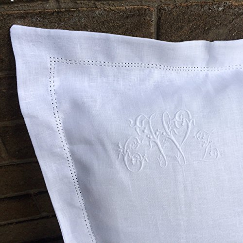 White 100% Linen Pillowcase, Oxford, Housewife, Hemstitch, Sham, Personalised Embroidered Heirloom Custom Monogram
