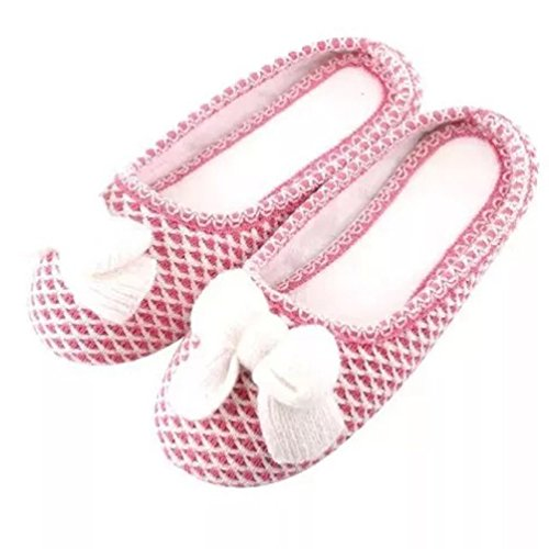 YUTIANHOME Ladies Slippers With Bow Womens Knitted Non-Slip Flat Indoor Shoes Pink fIBxN