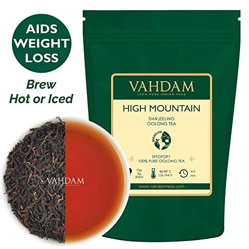 High Mountain Oolong Tea Leaves from Himalayas (50 Cups), 3.53oz, OOLONG TEA FOR WEIGHT LOSS, 100% Natural Detox Tea, Weight Loss Tea, Slimming Tea - Brew Hot, Iced, Kombucha Tea ()