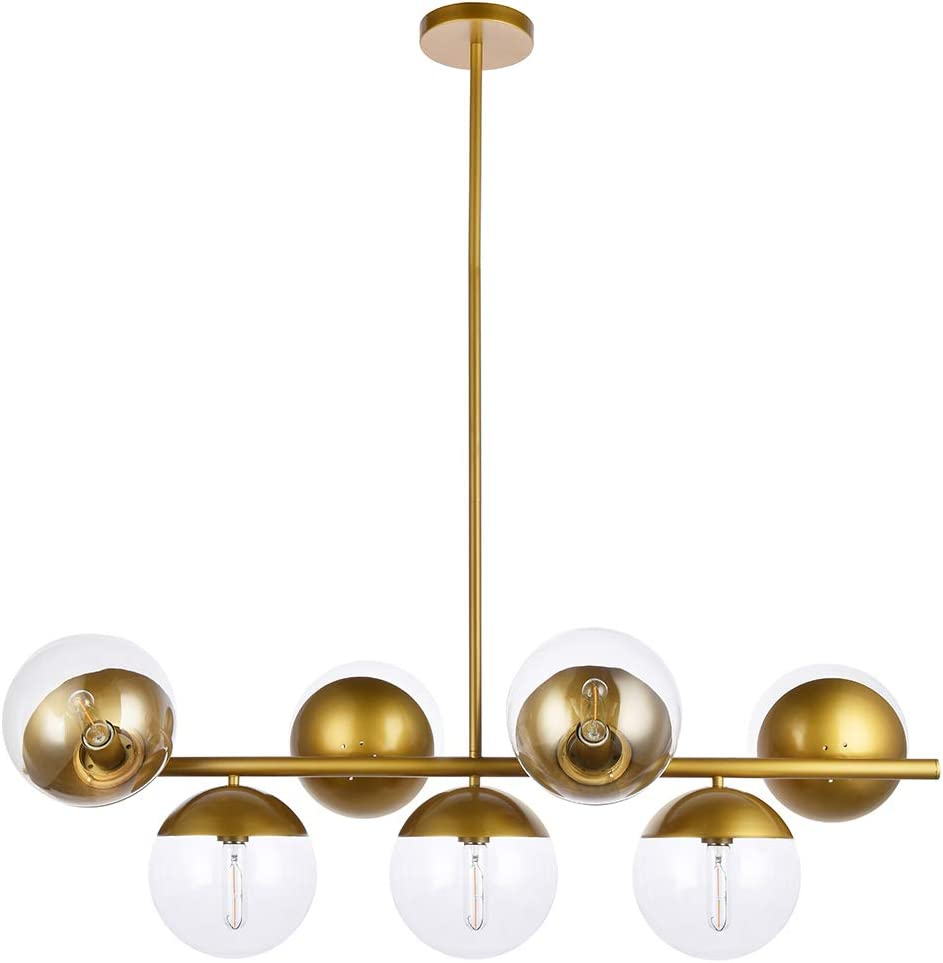 A1A9 Sphere Glass Ceiling Lights with 7-Light, Mid Century Modern Clear Glass Sputnik Chandelier, Branch Magic Bean Linear Pendant Light Fixture for Dining Room, Living Room, Foyer, Bar Brass