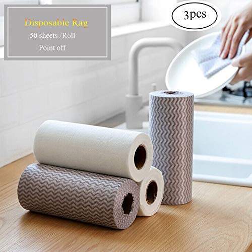 Disposable Cloth-like Dish Cleaning Towels, 3 Rolls-150 Sheets, Household Clean Tissue Paper Tool, Reusable All-Purpose Cleaner Wipes Absorbent Handy Napkin Dishcloth For Kitchen, Bathroom, Quick Dry