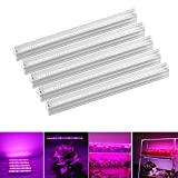 (Pack of 5) LED Grow Light Plant Growing Lamps SMD2835 Red/Blue Spectrum T5 Tube Lighting for Indoor Plant Veg and Flower Hydroponic Greenhouse Growing Bar Light + Switch Cable + US Plug