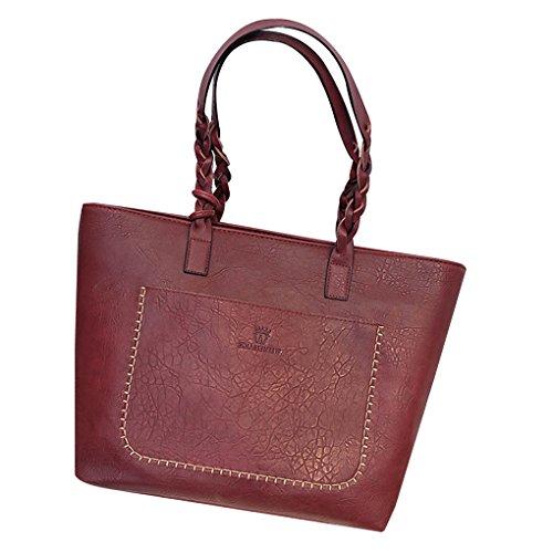 Mengonee Mujer grandes bolsas de hombro empaqueta los bolsos del mensajero con la borla de la PU del monedero de la bolsa de cuero para los vidrios protectores y Teléfonos Móviles Vino Rojo