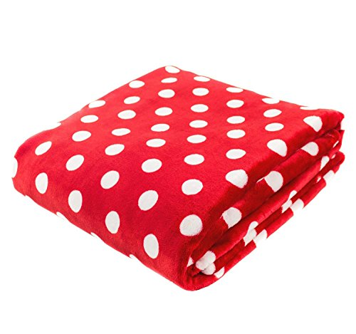 Single Piece Oversize Red & White Throw Blanket, Polka Dot Design, Knitted Patterned, Casual Style, Warm, Soft and Comfortable, Plush Reversible Type, 280 gsm, Home Decor, Machine Wash, Polyester