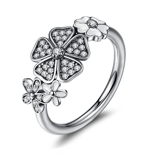 BAMOER Shimmering Bouquet Fashion Flower Engagement Rings 925 Sterling Silver Clear CZ with White Enamel Size 6-8 (8)