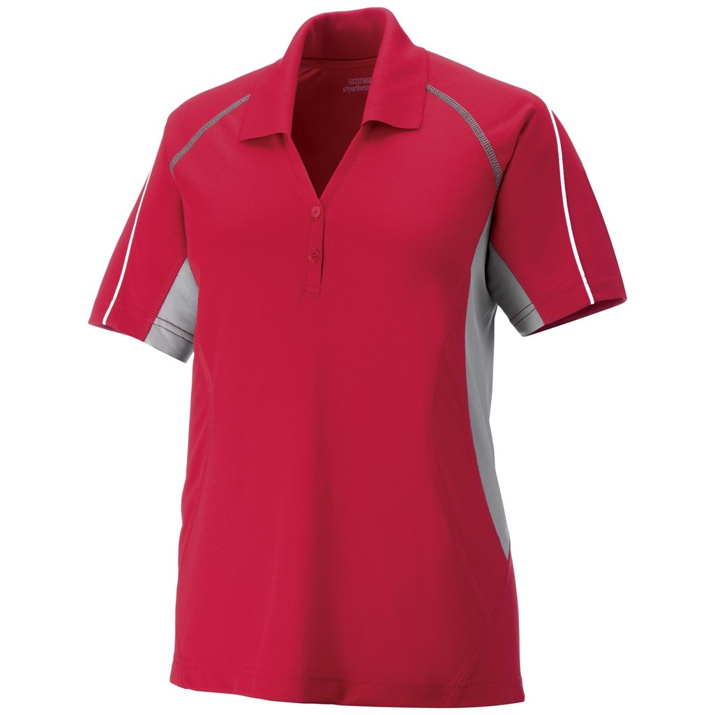 Ash City Ladies Parallel Polo (XXX-Large, Classic Red/Grey Lustre/White) by Ash City Apparel