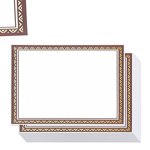 - 50 Pack Award Certificate Paper - Embellished Brown Burgandy & Gold Foil Border Blank Certificate Computer Paper for Graduation Diploma, Schools, Employees - 8.5 x 11 inches - 50 Count