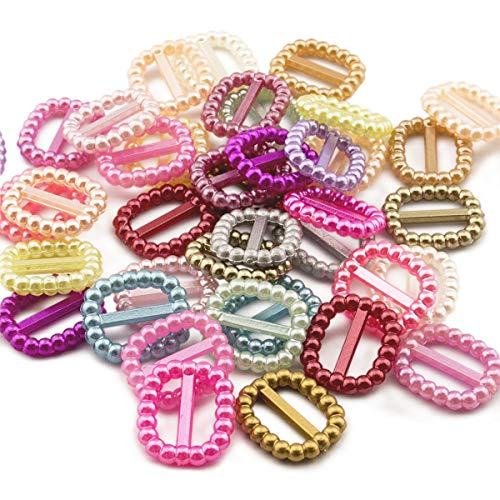 Summer-Ray 500pcs Acrylic Pearl Rectangle Buckle/Ribbon Slider ()
