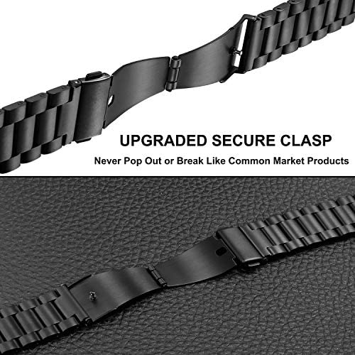Band Sets for Samsung Galaxy Watch 42mm / Active 2 40mm 44mm, TRUMiRR 20mm 2 Pack Solid Stainless Steel Watchband + Mesh Woven Strap Quick Release Wristband for Garmin Vivoactive 3 Ticwatch E 51LWuaVai9L