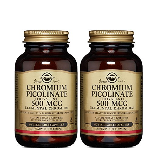 Solgar - Chromium Picolinate 500 mcg Vegetable Capsules 60 Count, Supports healthy glucose levels - 2 Pack