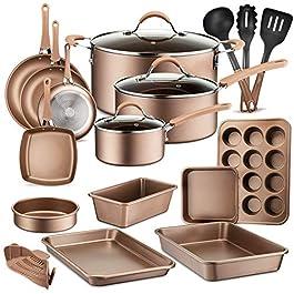 20-Piece Nonstick Kitchen Cookware Set – PTFE/PFOA/PFOS-Free Heat Resistant Lacquer Kitchen Ware Pots Baking Pan Set w…