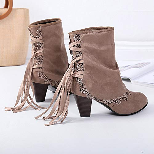 for Comfort Buckled Women Boots Patchwork Sunday77 Khaki Winter Tied Cross Solid Martin Flcok Adults Heel Boots Clearance Casual Square Ankle Ladies Shoes 6qwHHz