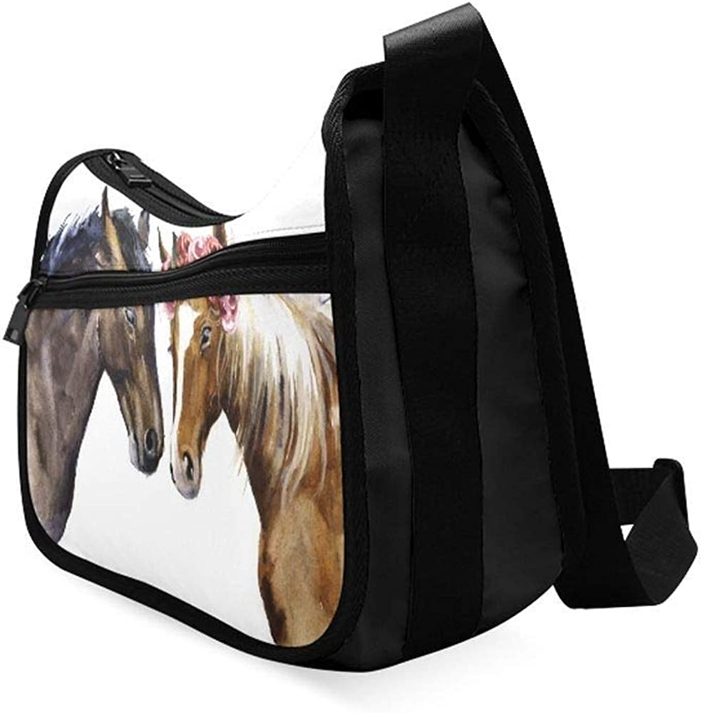 Horses Gallop Across The Grassland Messenger Bag Crossbody Bag Large Durable Shoulder School Or Business Bag Oxford Fabric For Mens Womens