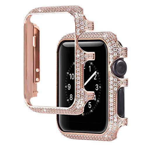 For Apple Watch Case 38mm, Universal Women Girls Ladies Rhinestones Diamond Bling Glitter Metal Watch Frame Cover Protective Bumper Shell Watch Case for 38mm Apple iWatch Series 1/2/3 - Rose Gold by BrilliStar