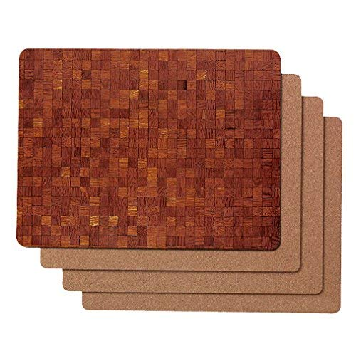 Caramella Bubble Cork Backed Hard Placemats for Kitchen Table | Heat Resistant Thick Boards Set of 4 | Classic Waterproof Place mats for Dining Table