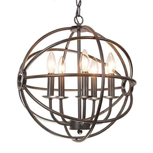 Benita 5-light Antique Black Metal Tube Globe Chandelier