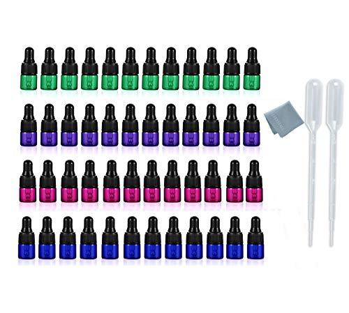 ELFENSTALL- 48Pcs/lot Small Dropper Bottles Colorful 1ml 1/4 Dram Essential Oil Glass Bottle Empty Lotion Perfume Sample Vials with Glass Eye Dropper + 1pc Clean Cloth + 2pc 1ml Dropper