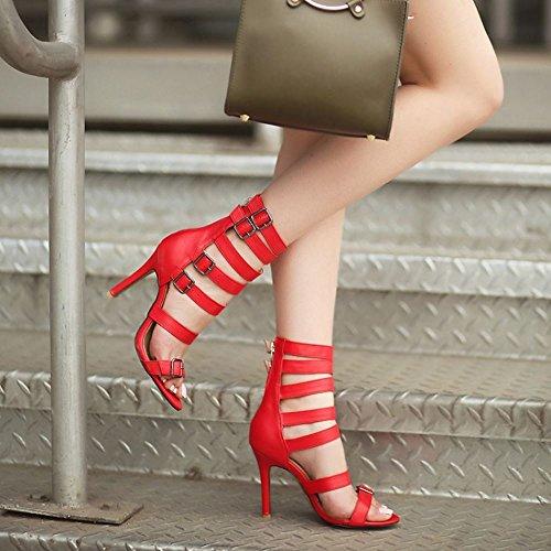 COOLCEPT Women Rome Thin High Heel Cut Out Summer Boots Open Toe Sandals Zipper Shoes Red tN9uHc3x