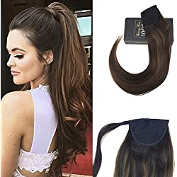 Sunny 18inch Remy Hair Extension Ponytail Brown Highlight Brazilian Human Hair Clip in Ponytail Extension 100% Real Human Hair 80g