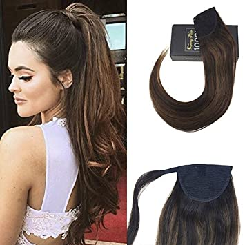 Amazon Sunny 22inch Clip In Ponytail Hair Extensions Brown