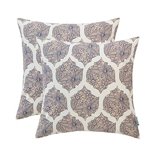 Contemporary Cushion Cover - HWY 50 Throw Pillows Covers Sets Cushion Cases for Couch Sofa Bedroom Soft Decorative Geometric Floral Camel Print 18 x 18 inch Pack of 2