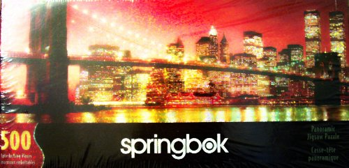 - Rare Springbok 500 Piece Interlocking Panoramic Jigsaw Puzzle 2001 New York City - The Shiny Big Apple! Commorative Collector's Edition Glitter Puzzle Featuring the Twin Towers
