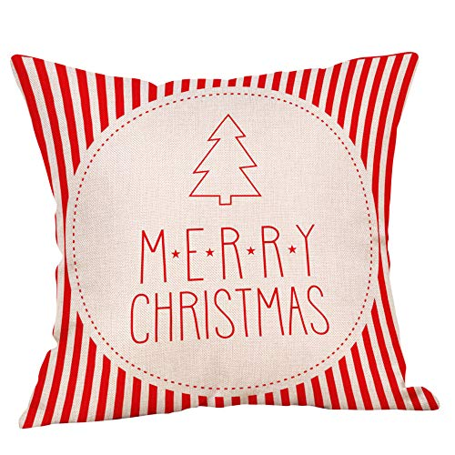 Seaintheson Red Christmas Throw Pillow Covers, Cute Glitter Cotton Linen Throw Pillow Cases 18x18 Inch Cushion Cover for Home Couch Car Decorative